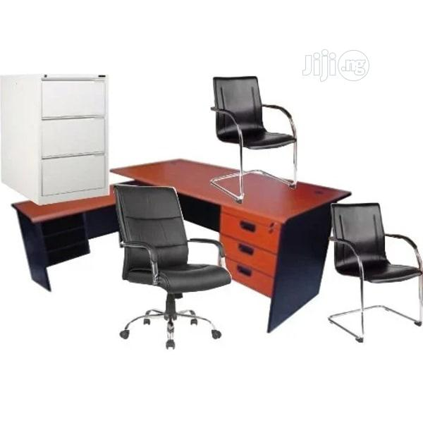 4ft Office Table, 3ft Extension, File Locker,Executive Chair