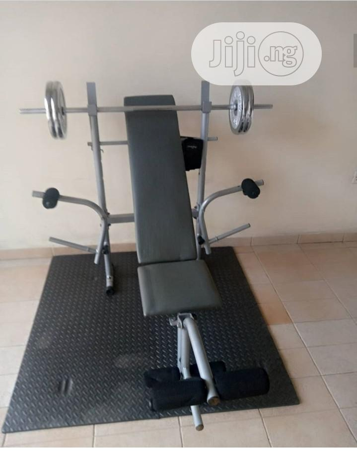 Weight Bench With Leg Pull and 50kg Weight Plate and Barbell
