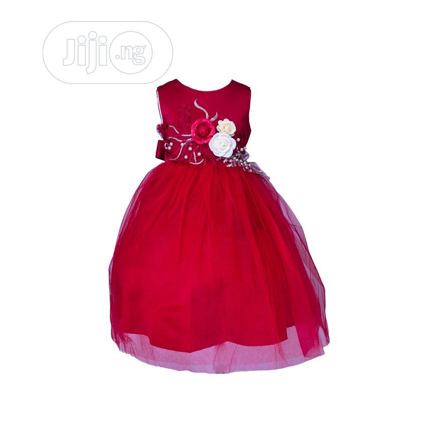 Mini World Red Dress With Cream Flower
