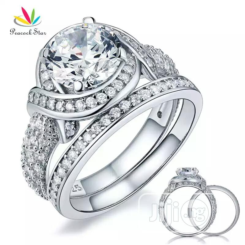 925 Steriling Silver Wedding And Engagement Ring