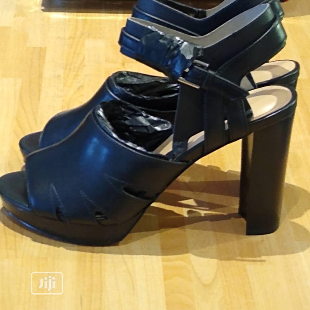 Black Block Heel Leather Occasions Work Open Toe Shoes