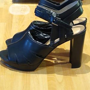 Black Block Heel Leather Occasions Work Open Toe Shoes   Shoes for sale in Lagos State, Surulere
