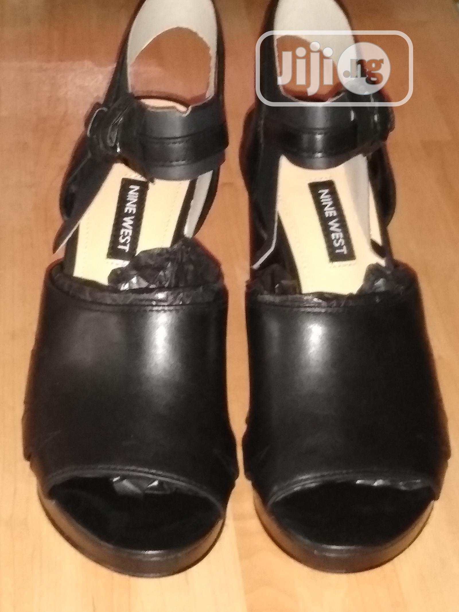 Black Block Heel Leather Occasions Work Open Toe Shoes   Shoes for sale in Surulere, Lagos State, Nigeria