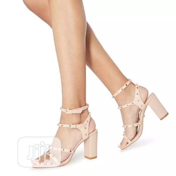 Dune - Natural Leather Model High Block Heel Ankle Strap S