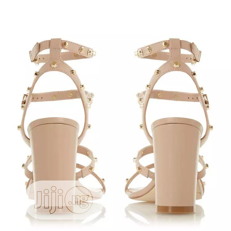 Dune - Natural Leather Model High Block Heel Ankle Strap S | Shoes for sale in Surulere, Lagos State, Nigeria