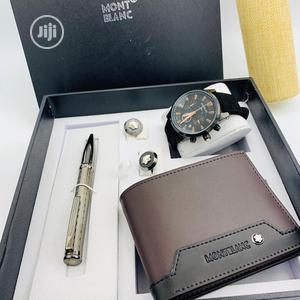 Montblanc Chronograph Leather Strap Watch/Pen And Cufflinks | Watches for sale in Lagos State, Lagos Island (Eko)