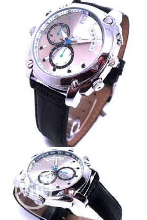 Night Vision HD 1080P 8GB Leather Hidden Spy Camera Watch | Security & Surveillance for sale in Lagos State, Ikeja