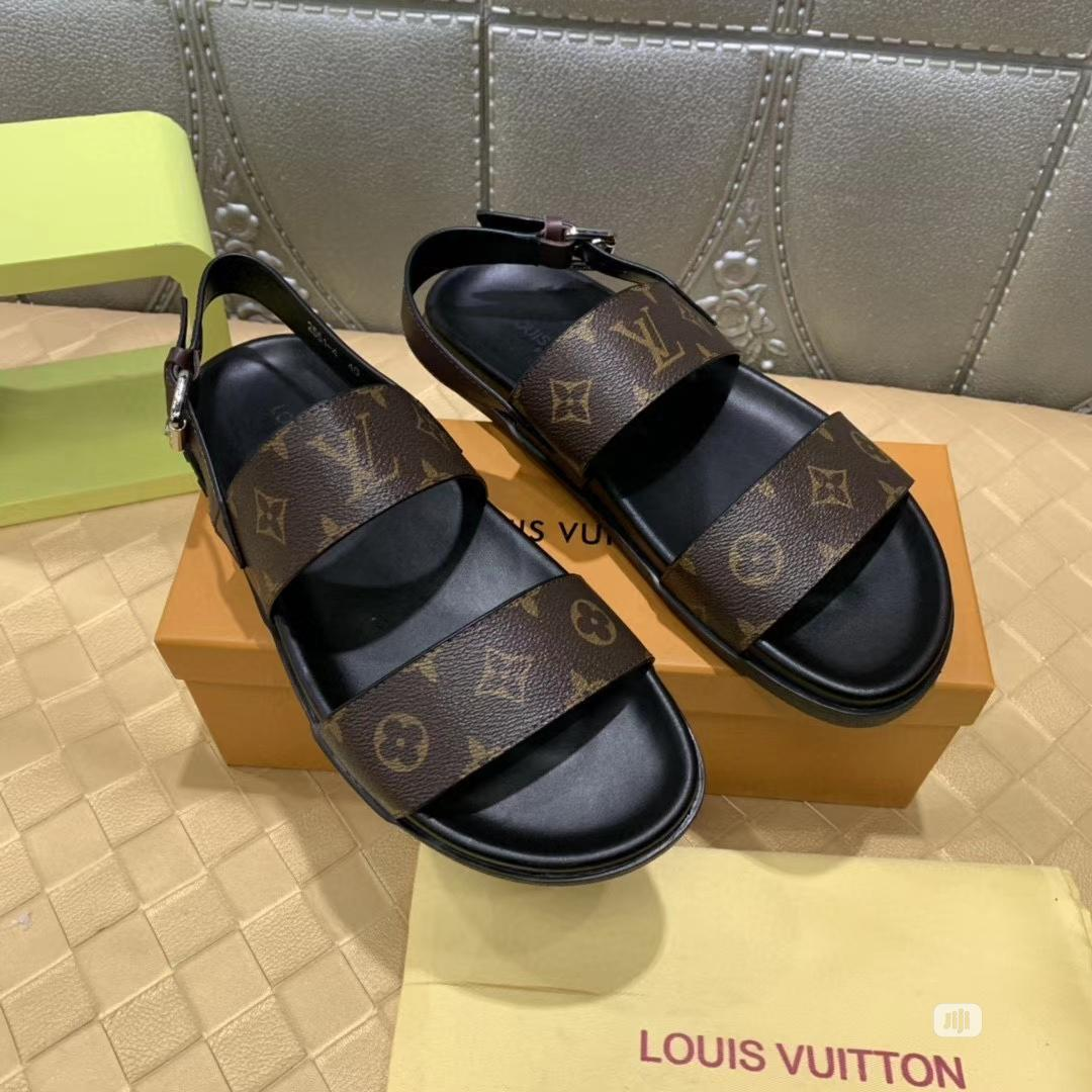 New Quality Men Louis Vuitton Leather Sandals | Shoes for sale in Ikeja, Lagos State, Nigeria