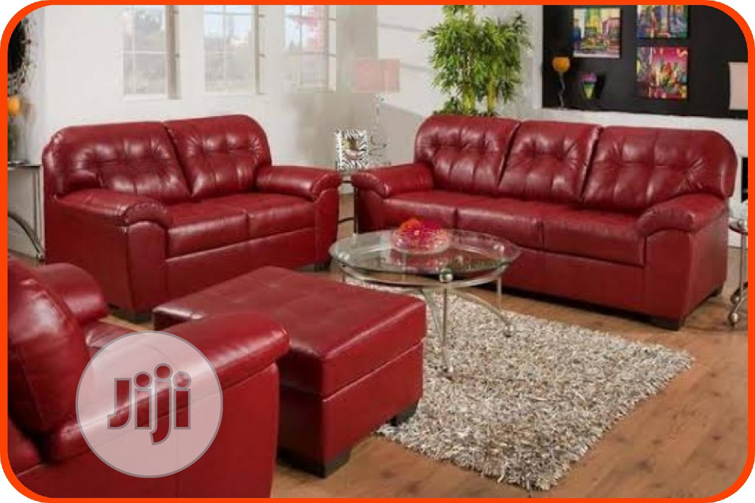Red Leather Sofa With Center Table