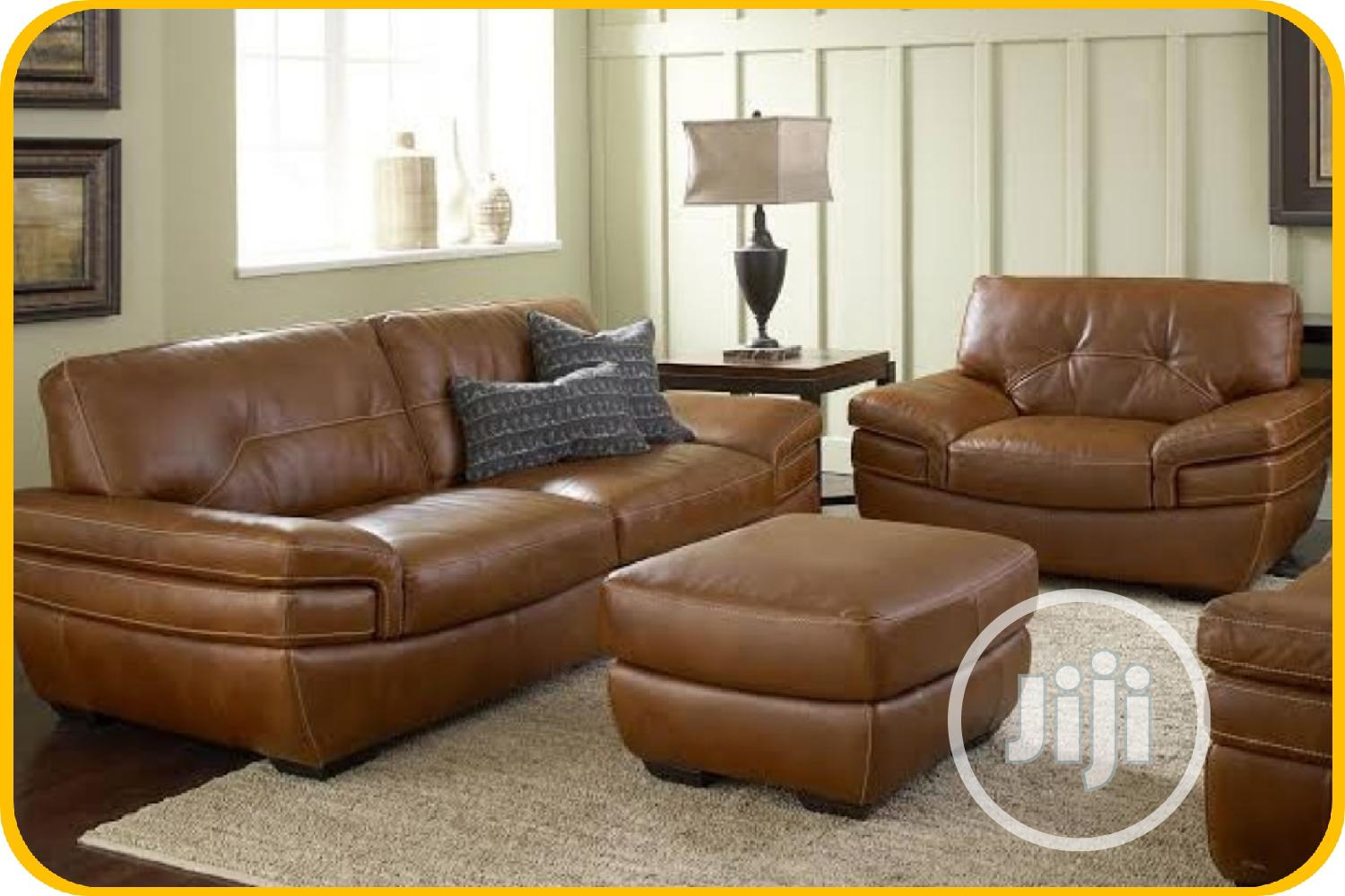 Modern Leather Sofa With Center Table