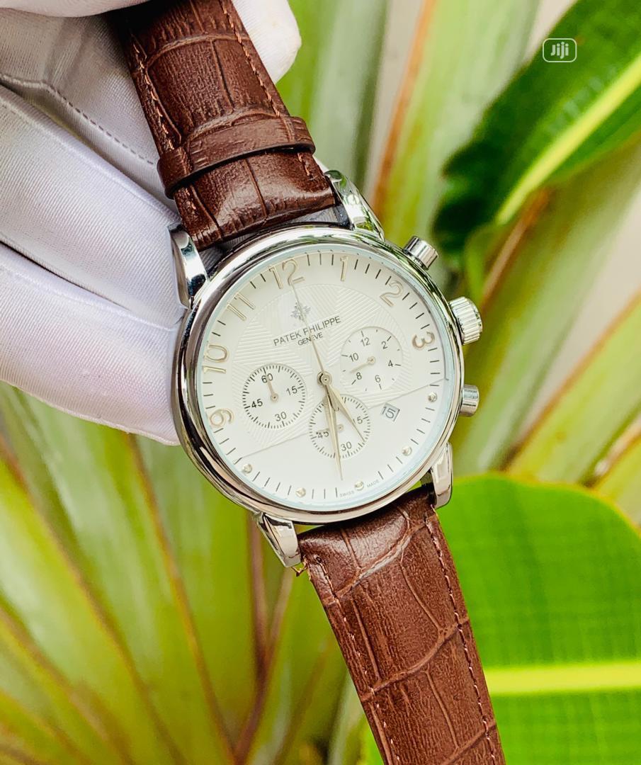Archive: Patek Philippe Brown Strap Men Wrist Watch