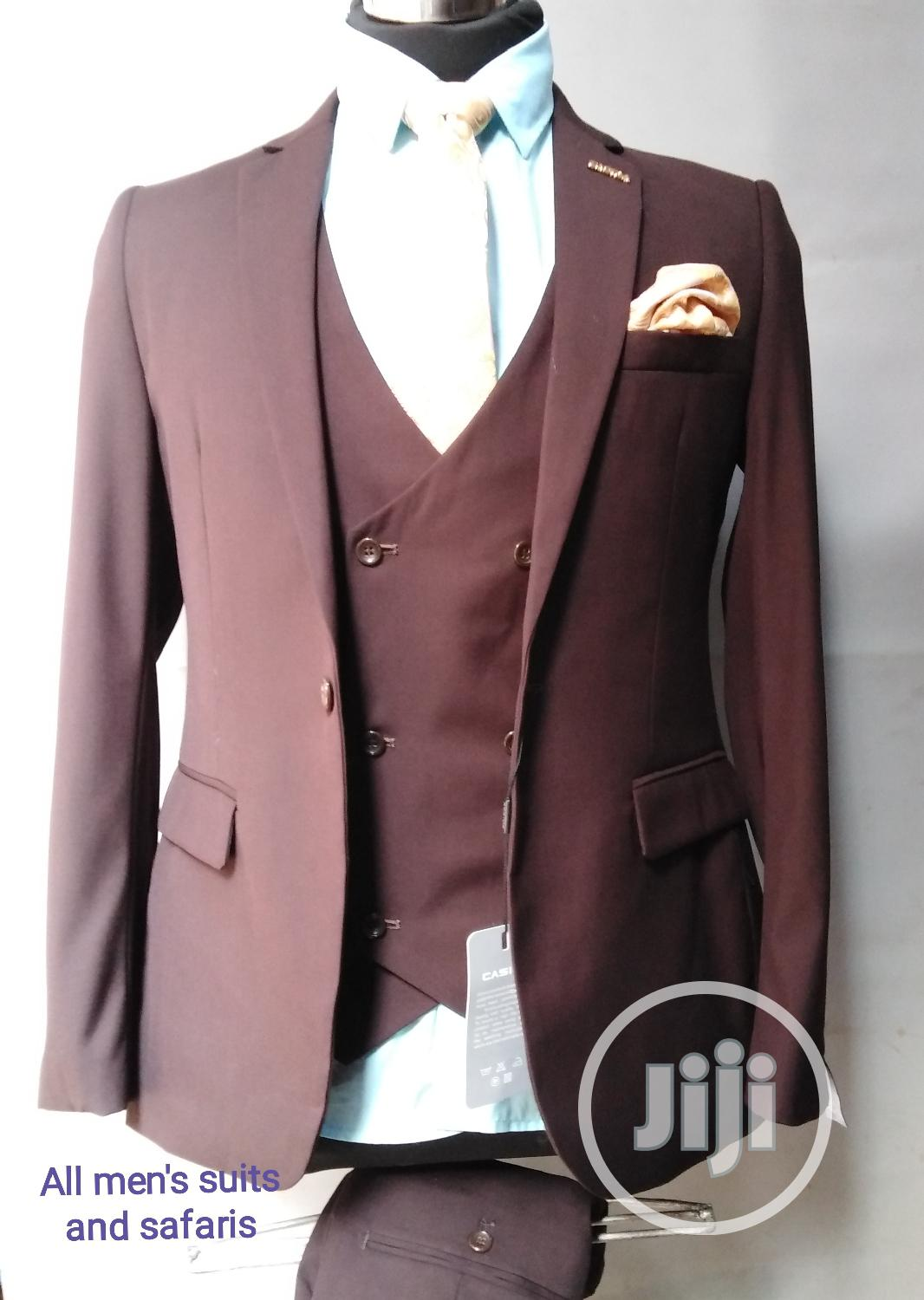 3pieces Coffee Brown Suit