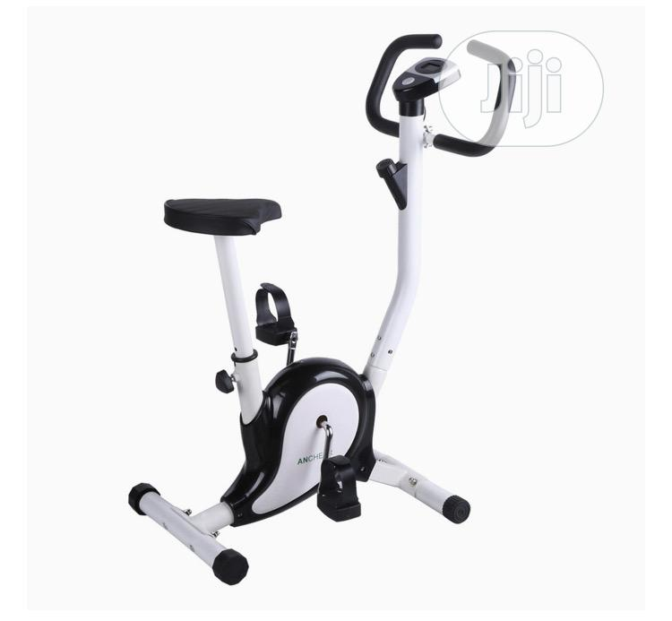 Upright B Cycle Trainer Exercise Bike With LCD Display White