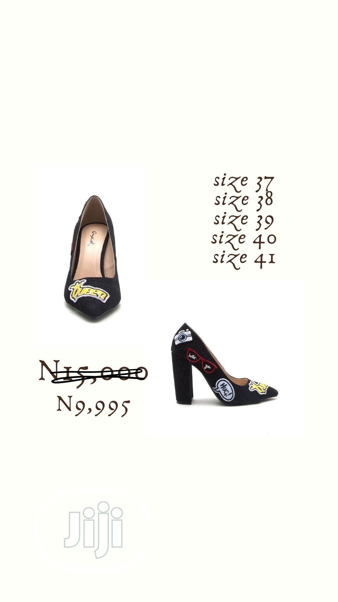 Fashion Female Black Denim Ladies Block High Heels | Shoes for sale in Surulere, Lagos State, Nigeria