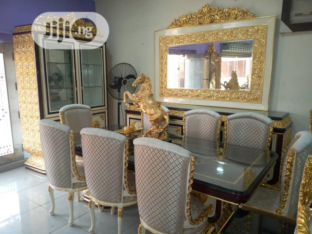 Turkish Royal 8 Seater Dining Table,Mirror and Shelve