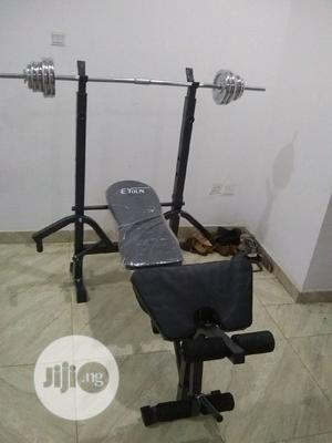50kg Weight Plates With Semi-Commercial Weight Bench | Sports Equipment for sale in Rivers State, Port-Harcourt