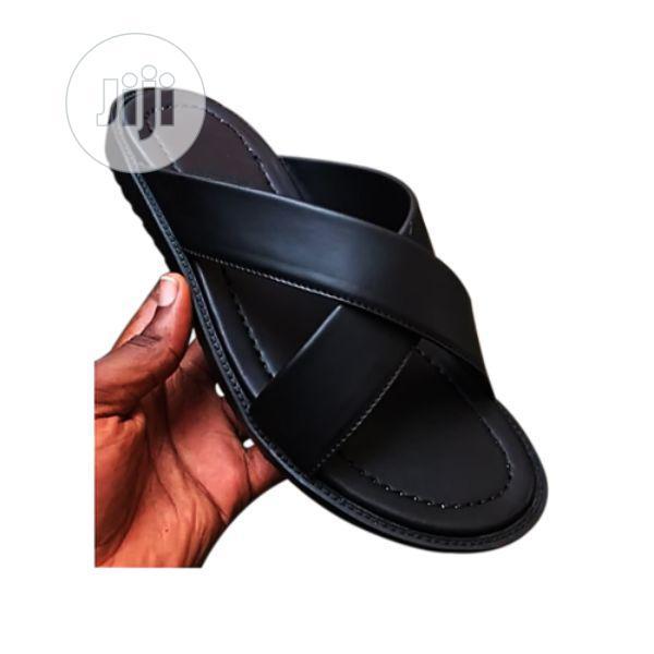 plain black slippers