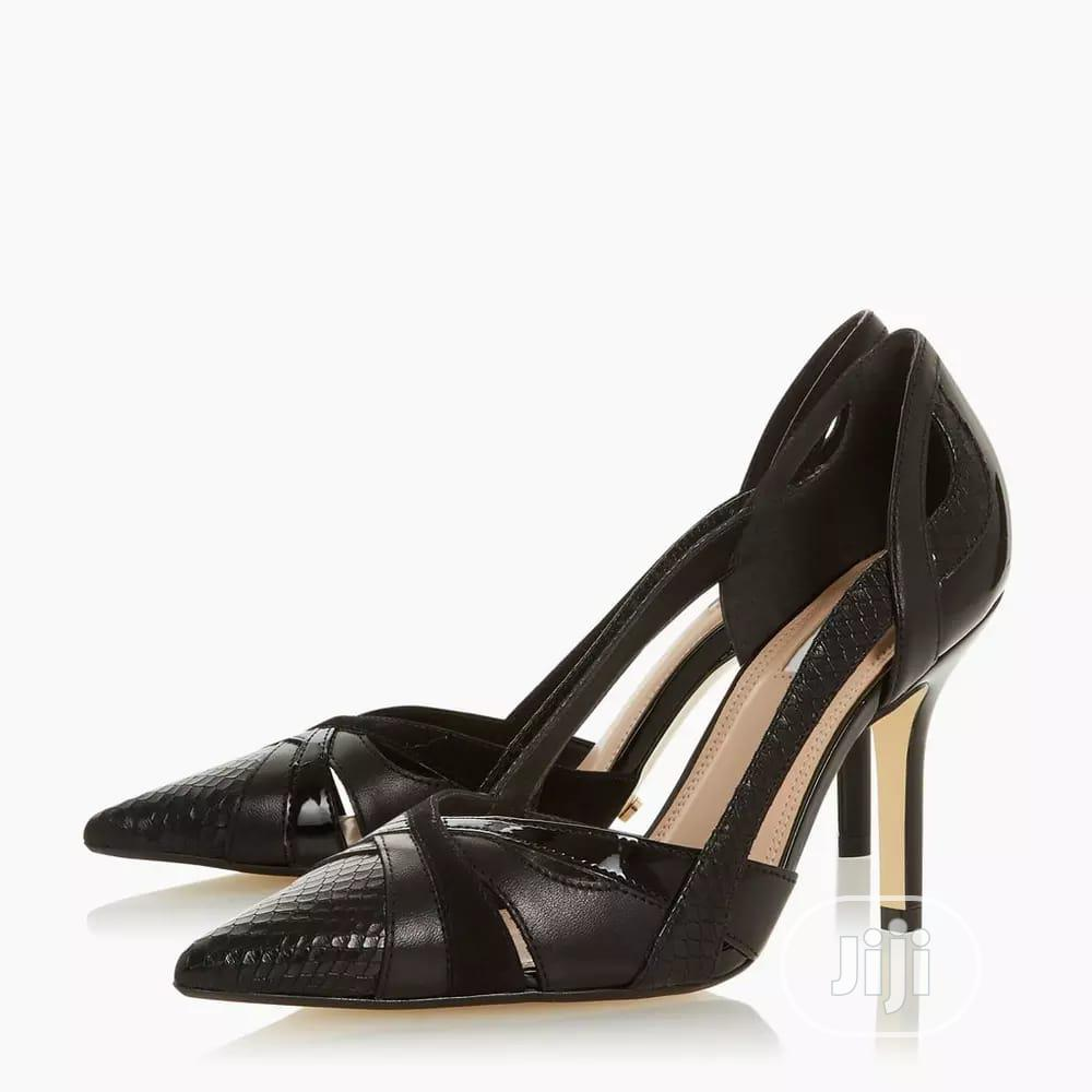 Ladies Black Two Part High Heel Court Shoes