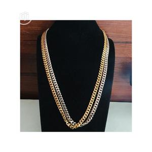 Two Cuban Chains Gold and Silver   Jewelry for sale in Lagos State, Surulere