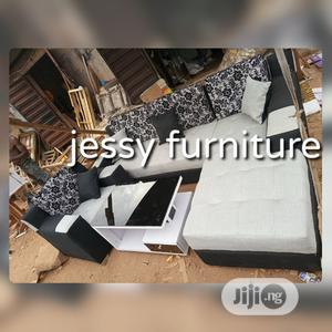 L-Shaped Fabric Sofa With One Single and a Center Table | Furniture for sale in Lagos State, Badagry