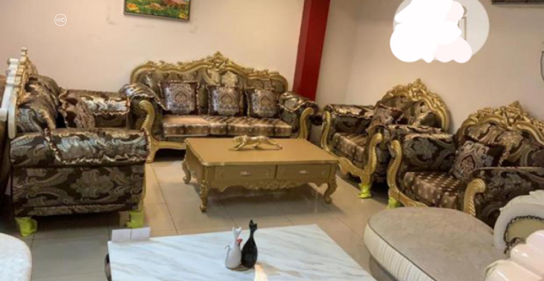 Italian Gold Fabric Execute Sofa