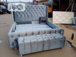Modern Padded Bed Frame With Bed Side | Furniture for sale in Lagos State, Ikeja