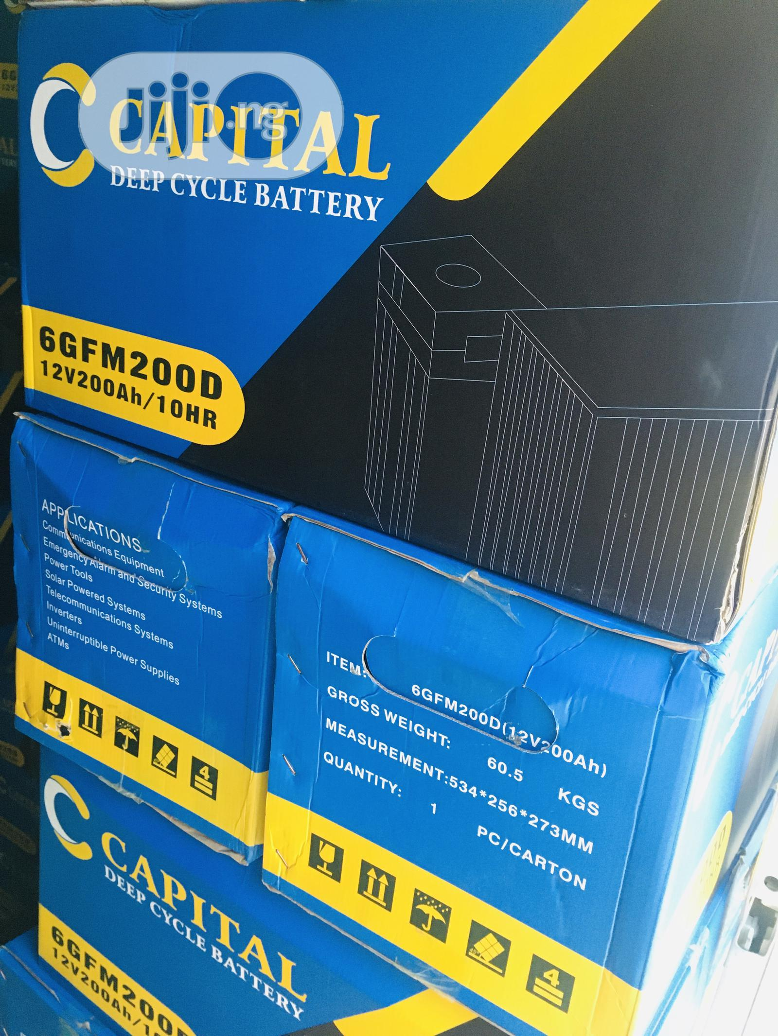 200ah 12v Capital Battery Available With 1yr Warranty | Solar Energy for sale in Ikeja, Lagos State, Nigeria