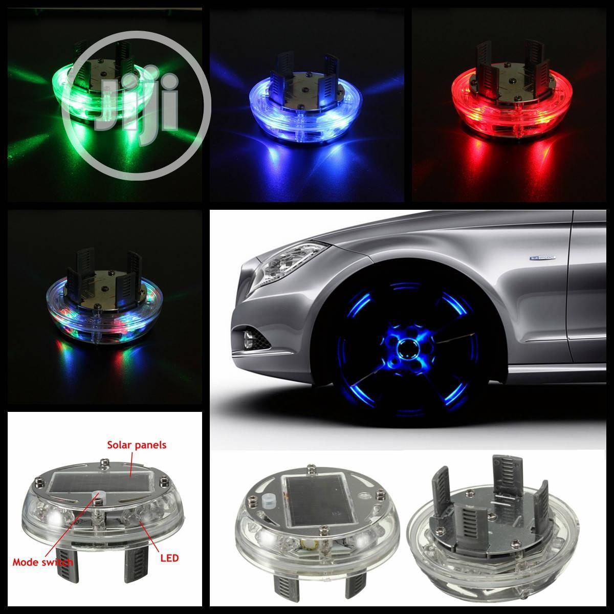 1pcs 4 Modes 12 LED RGB Car Solar Energy Flash Wheel Light