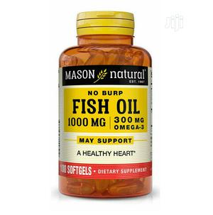 Mason Natural No Burp Fish Oil 1000mg/300mg Omega 3 X 100 | Vitamins & Supplements for sale in Lagos State, Surulere