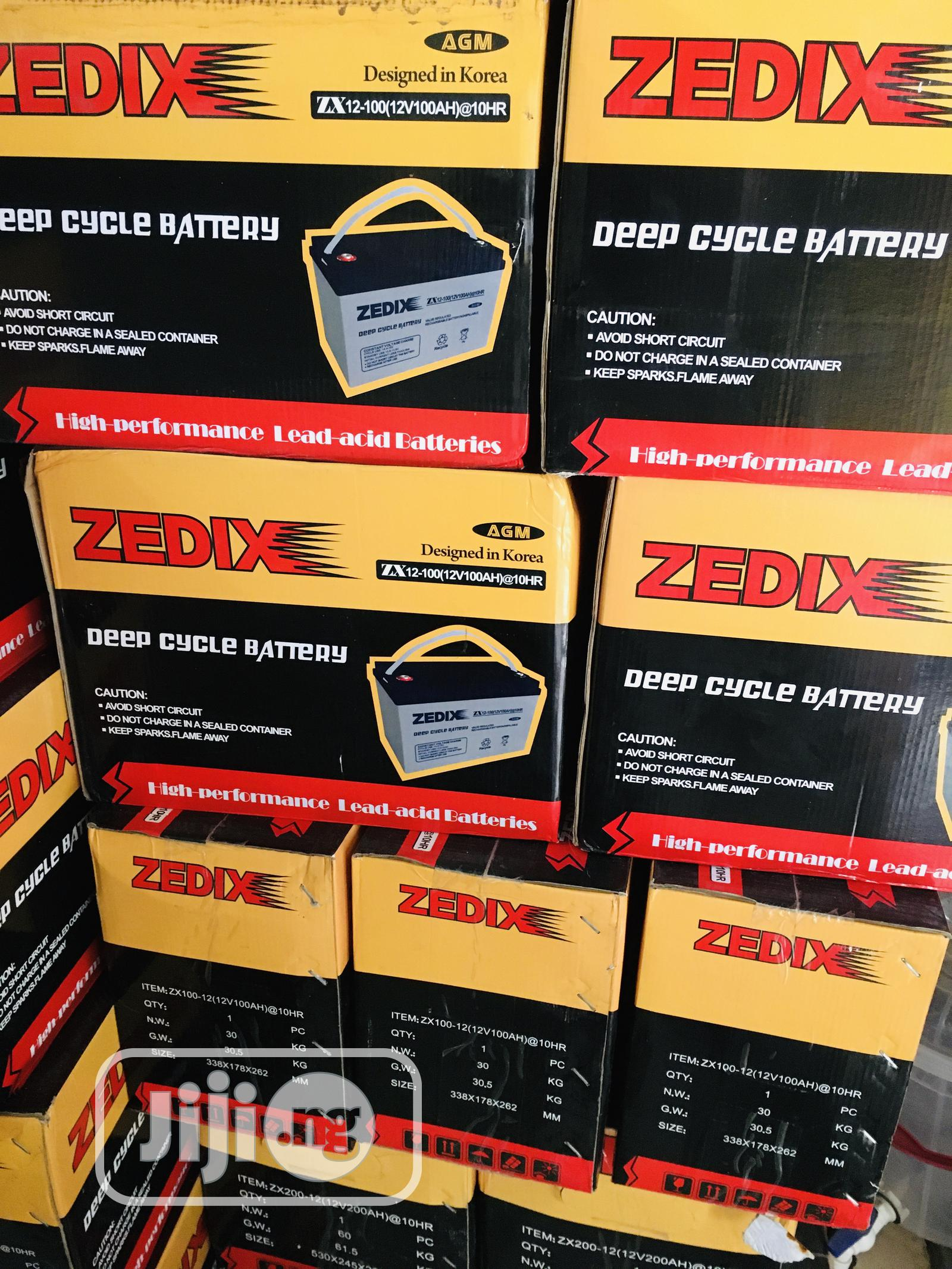 100ah 12v Zedix Battery Available With 1yr Warranty   Solar Energy for sale in Ojo, Lagos State, Nigeria
