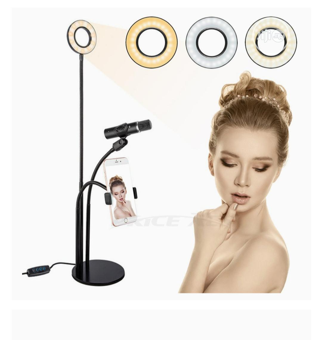 Selfie LED Ring Light W/Cell Phone Microphone Holder Stand