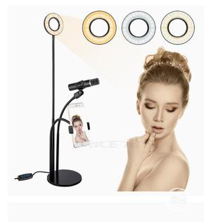 Selfie LED Ring Light W/Cell Phone Microphone Holder Stand   Accessories for Mobile Phones & Tablets for sale in Lagos State, Mushin