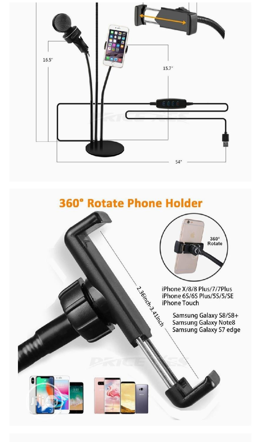 Selfie LED Ring Light W/Cell Phone Microphone Holder Stand | Accessories for Mobile Phones & Tablets for sale in Mushin, Lagos State, Nigeria
