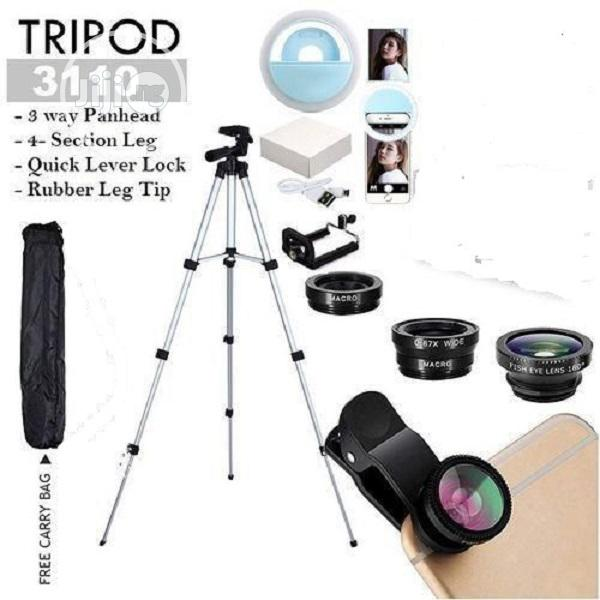 Mobile Tripod Stand With Clip Lens & Phone Ring Light