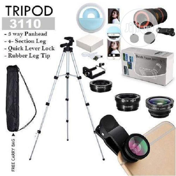 Tripod Stand With Clip Lens, Phone Ring Light & Telescope