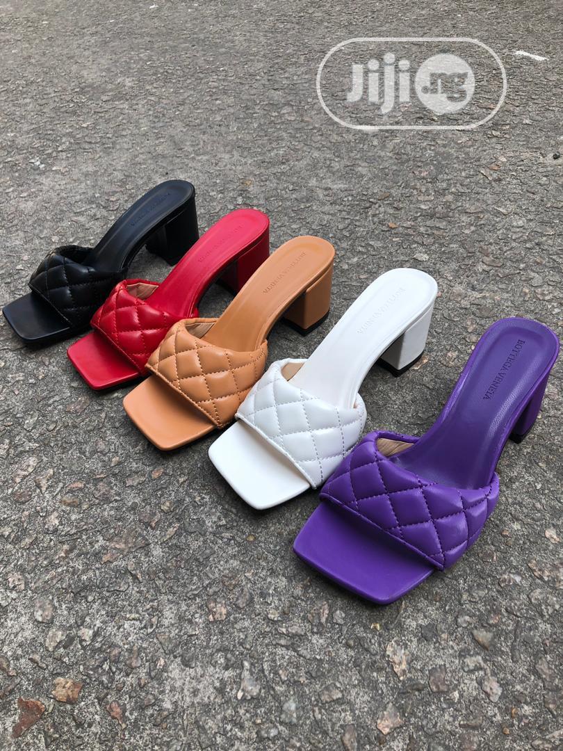 New Female Quality Original LV Block Heel Slippers   Shoes for sale in Lagos Island (Eko), Lagos State, Nigeria