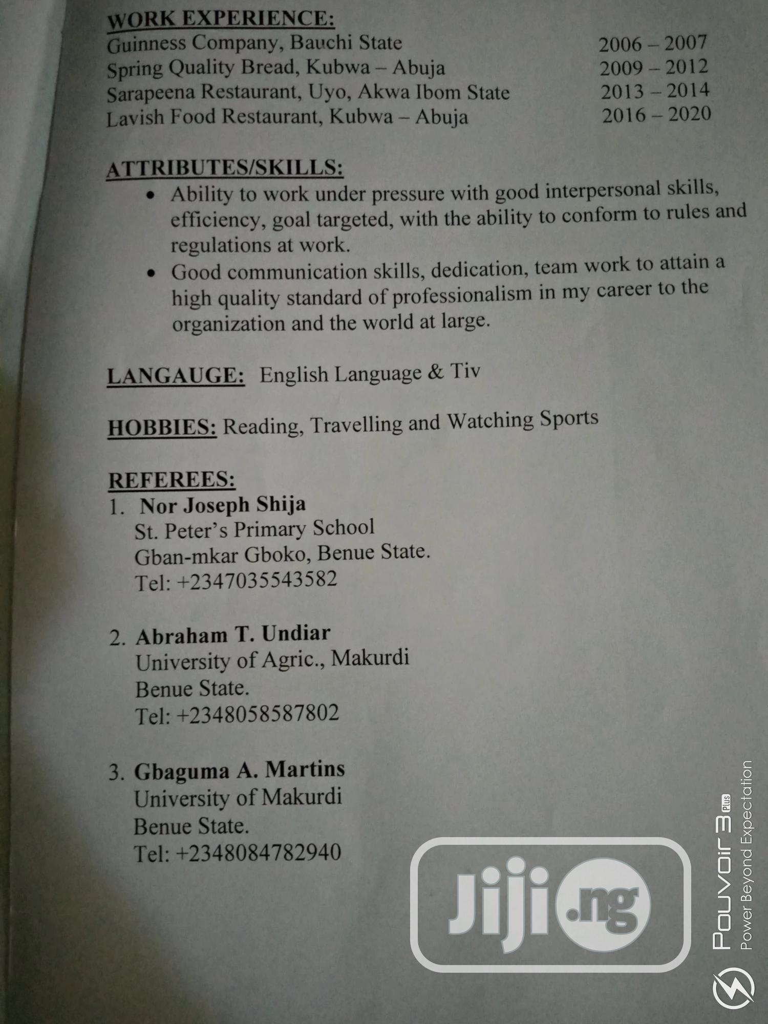 Management CV | Management CVs for sale in Vandeikya, Benue State, Nigeria
