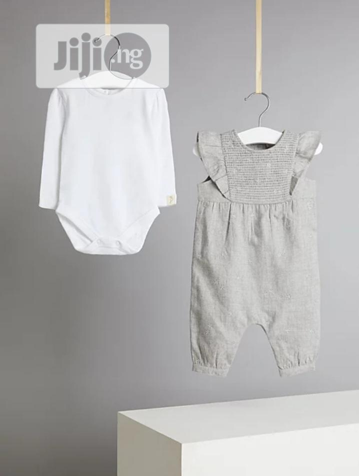 Embroidered Dungarees and Bodysuit Outfit | Children's Clothing for sale in Surulere, Lagos State, Nigeria
