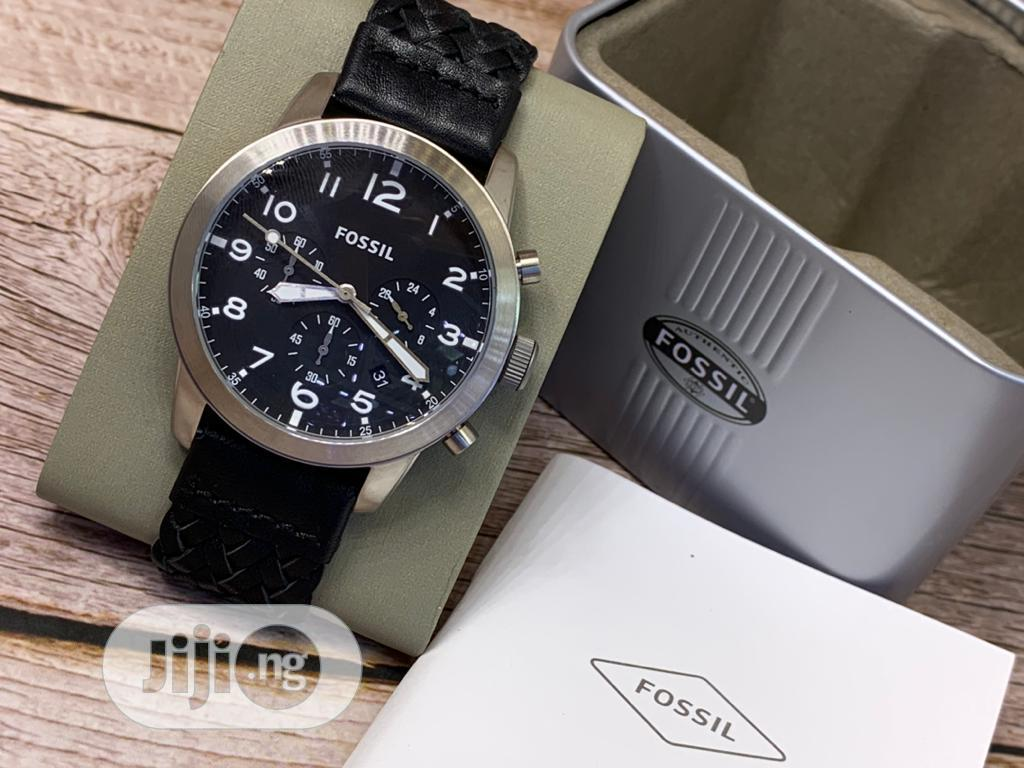 Fossil Chronograph Silver Leather Strap Watch