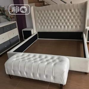Quality White Leather Bed 6 by 6 With Drawers   Furniture for sale in Abuja (FCT) State, Wuse