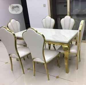 Quality White/Gold Marble Dinning Table With 6 Chairs   Furniture for sale in Abuja (FCT) State, Wuse