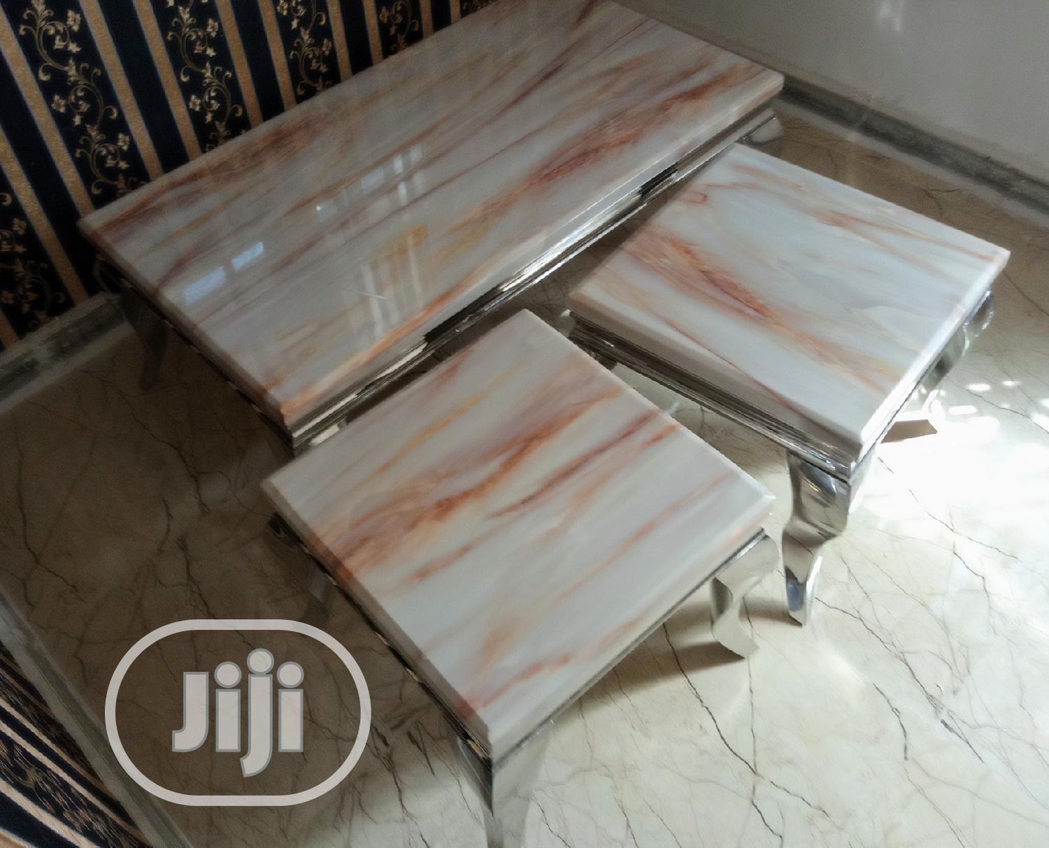 Marble Center Table With Two Side Stools