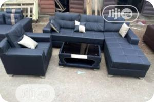 L- Shaped Leather Sofa With One Single And Center Table | Furniture for sale in Lagos State, Ikeja