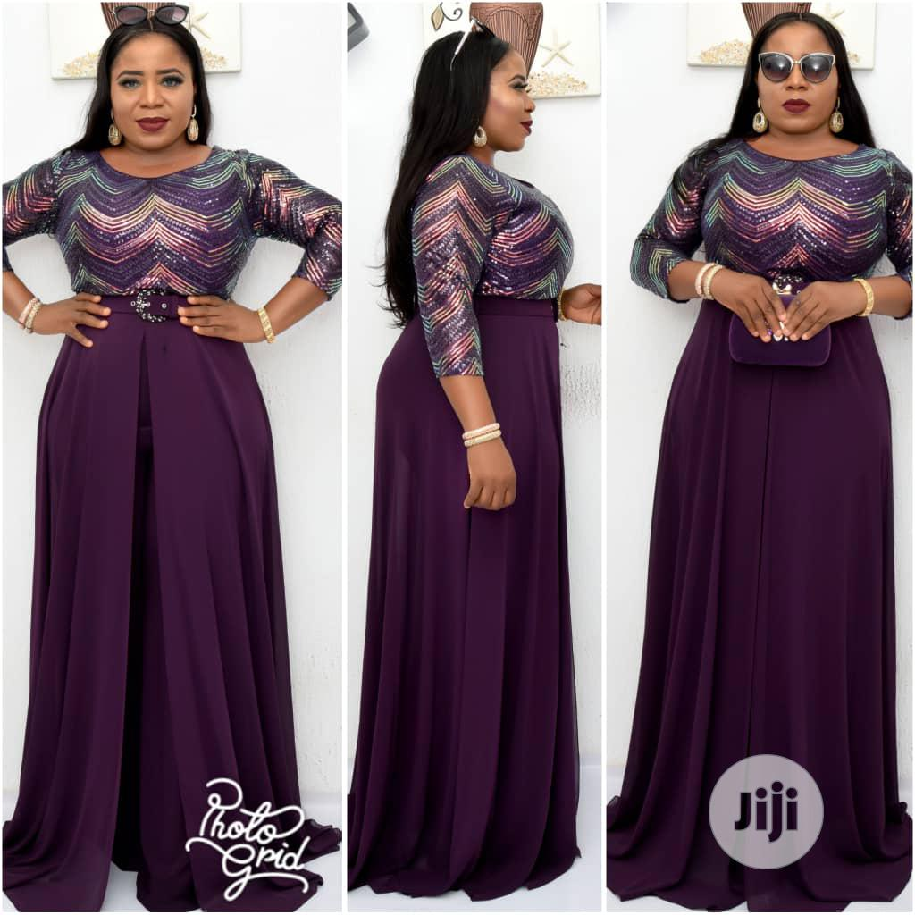 New Female Turkey Quality Purple Jumpsuit With Flair