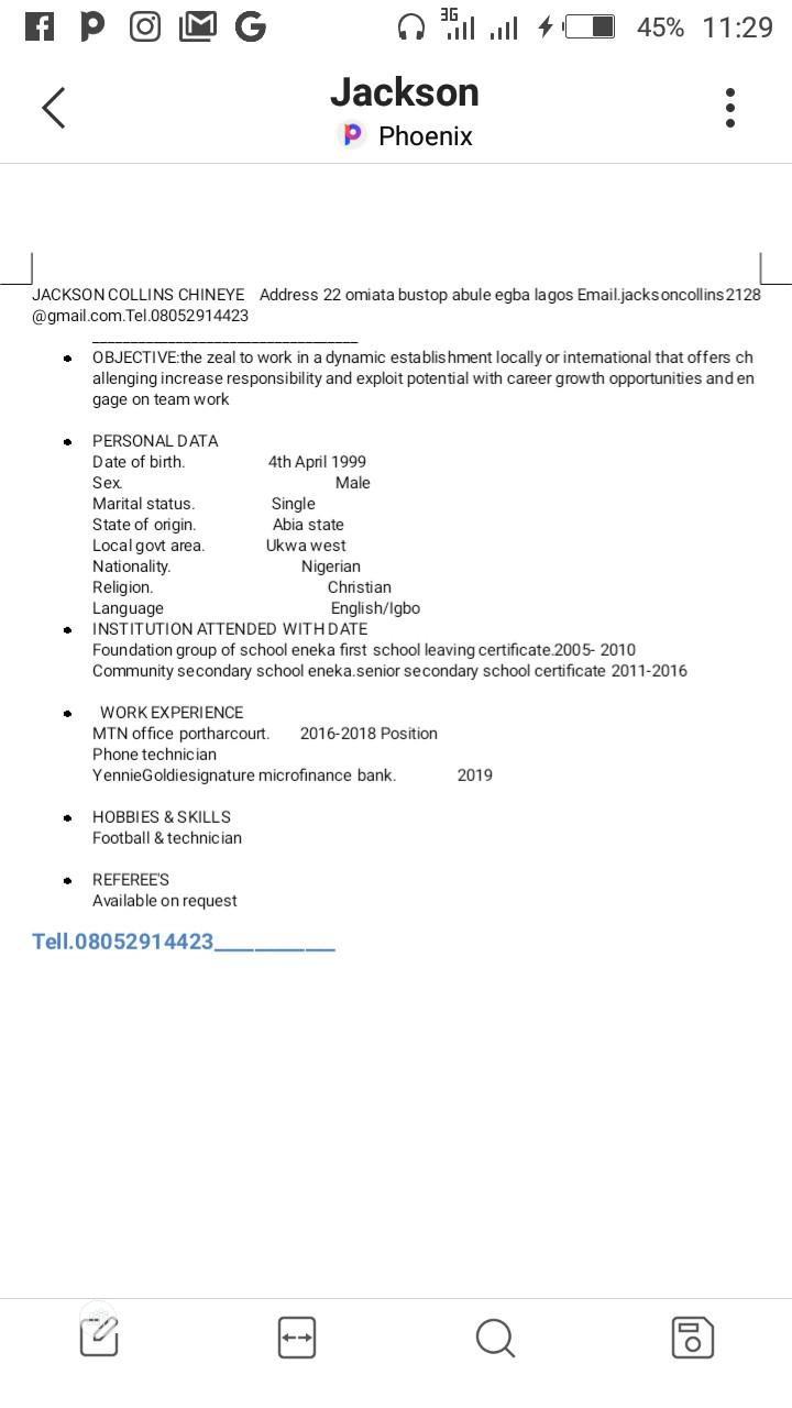 Sales Telemarketing CV