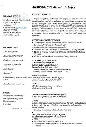 Healthcare & Nursing CV | Healthcare & Nursing CVs for sale in Lagos State, Mushin