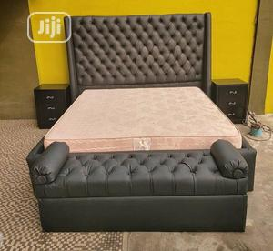 6.6 Brown Leather Padded Bed Frame With 2 Bed Side   Furniture for sale in Lagos State, Ikeja