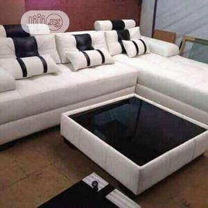 Leather L Shaped Chair With Center Table   Furniture for sale in Lagos State, Ajah