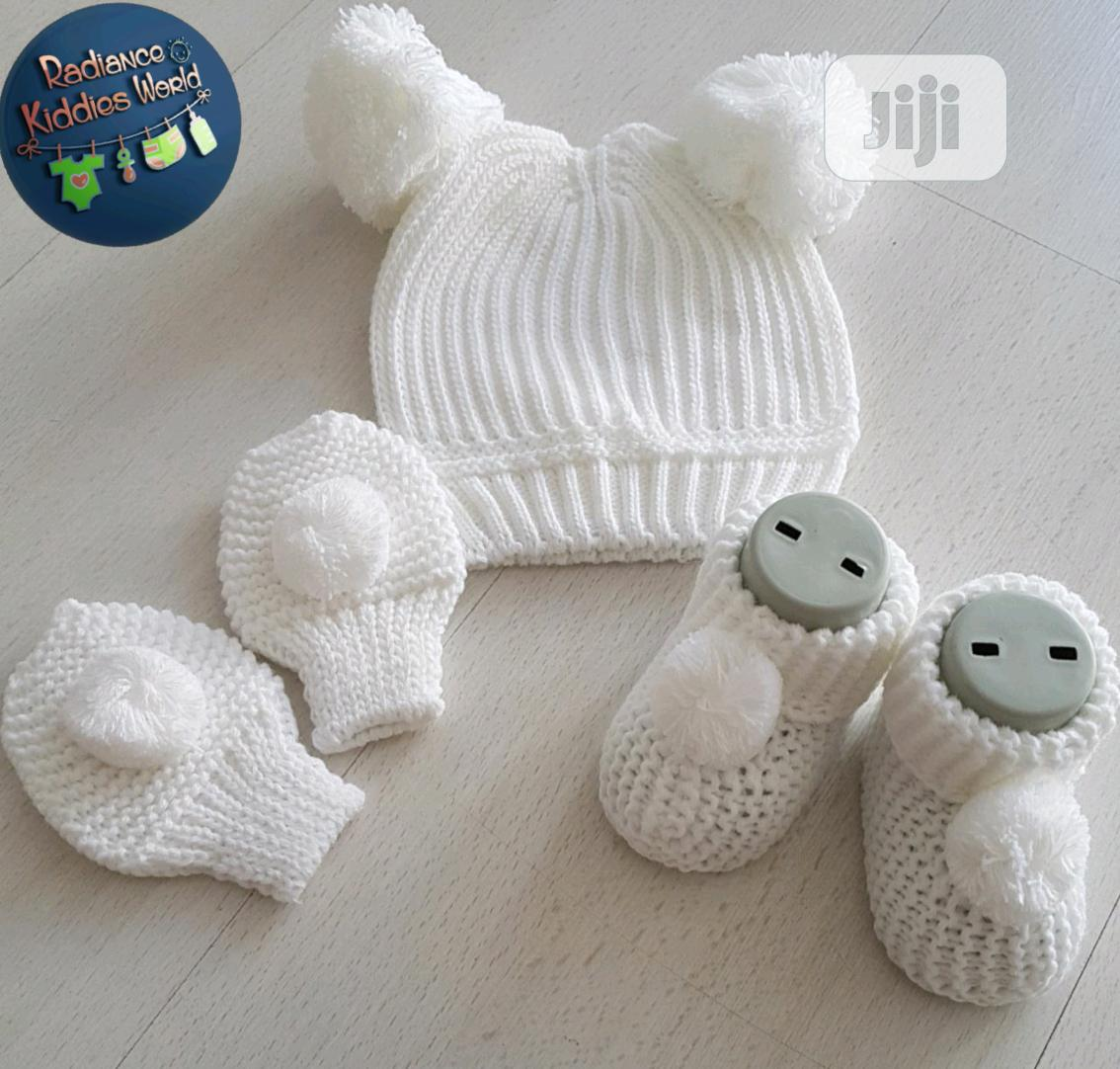 Baby Cap, Booties And Mittens Set