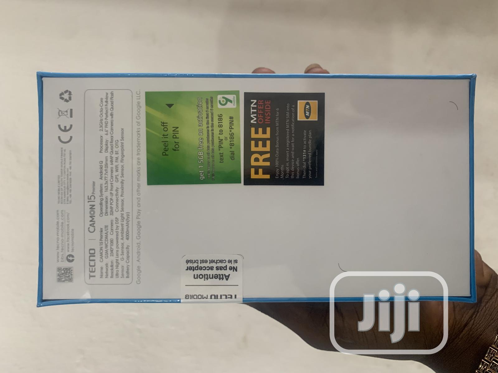 New Tecno Camon 15 Premier 128 GB | Mobile Phones for sale in Ikeja, Lagos State, Nigeria